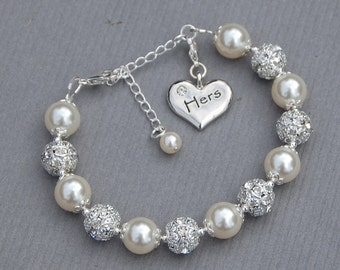 Hers Charm Bracelet, Hers Wedding Gift, Just Married Wife, Gift from Groom, New Wife Jewelry, Brides Jewelry