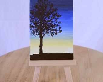 Mini Canvas Painting, Miniature Canvas Painting, Mini Canvas Art, Miniature Canvas Art, Tree Canvas Art, Sunrise Painting, Sunset Painting