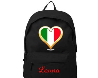 Italy black backpack personalized with name