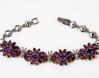 Red Garnet and Amethyst Bracelet
