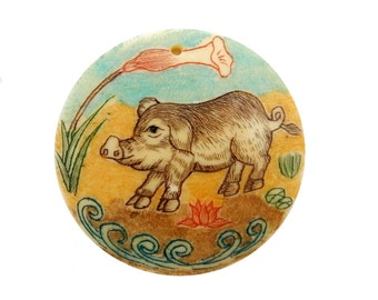 Chinese Zodiac Year of the Boar Hand Painted Round Shape Bone Top Center Drilled Bead (RK39B2b-20)