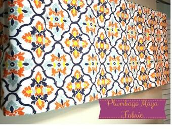 Window Valance -  Curtain Valance - Window Topper - Lined Window Valance - Custom Home Decor - Choose Size and Fabric Blue Yellow Orange