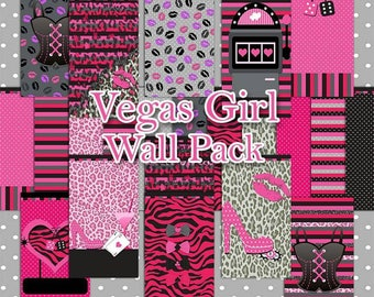 60 % Off Vegas Girl Wall Pack for Mobile Devices, Instant Download, Iphone, Android,