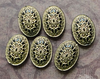 10x14 Black And Gold Geometric Deco Design Cabs - 6 Vintage Glass Cabochons