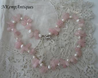 Rose quartz bead necklace real pearls