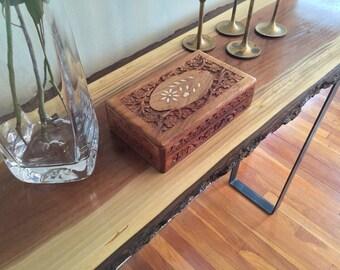 Sofa Table Entryway Table Console Live Edge Slab Black Walnut Bar Table Rustic Industrial Steel Rectangle Legs Mid Century Modern Wood