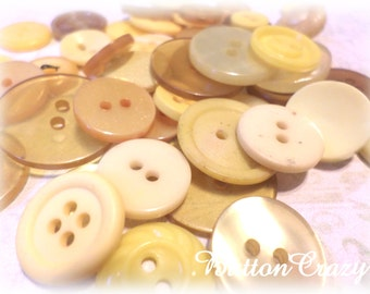 50 Shades of Yellow VINTAGE Buttons