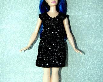 Dress fits Curvy Barbie fashionista fashion doll clothes black with white dots A4B191