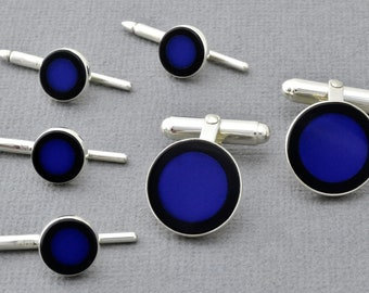 Cuff links and tuxedo studs in sterling lapis & onyx