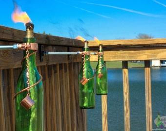 Four 375ml Wine Bottle Tiki Torches - Outdoor Decor - Patio Decor - Outdoor lighting - Gifts for Mom  - Wine Bottle Decor - Garden Gift