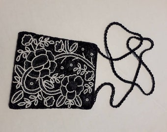 Vintage 1970 beaded embroided shoulder bag in black and white