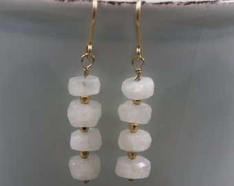 Moonstone Rondelle Earrings with Gold Filled Accent Beads