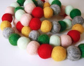 Christmas Garland - Pom Pom Garland - Felt Ball Christmas Garland - Holiday Mantle Decor - Red and Green Garland - Christmas Socks