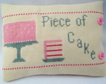 Cake Cross Stitch Mini Pillow Piece Of Cake Idiom Shelf Pillow Kitchen Or Bakery Decor