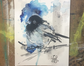 Black and Blue Bird, Original Watercolor Painting 9x12""