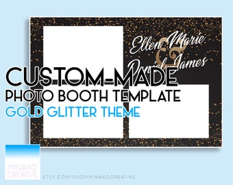 Custom Made Black and Gold Glitter Theme Elegant 1920s Gatsby Wedding Photobooth Photo Booth Template