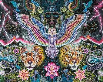 Rainbow Pueo Blessing visionary art signed  prints