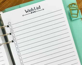 A5 Wish List printed planner insert - checklist - lined paper - college ruled