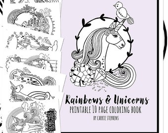 Unicorn Coloring Book Printable PDF, Unicorn Coloring Pages, Unicorn Themed Birthday Party Favors,Printable JPG Colouring Activity