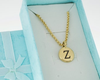 Antique Gold Plated Pewter Initial Charm Necklace.  Initial Necklace. Initial Charm. Initial Jewelry. Letter Z necklace.