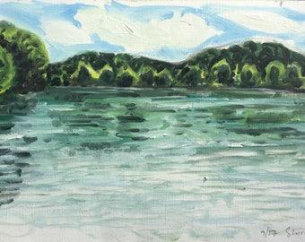 Marsh Creek State Park, Sommer 2017, ORIGINAL Ölgemälde auf festem Papier von Shirley Kanyon, 8x14.5 Zoll, 21 x 37 cm