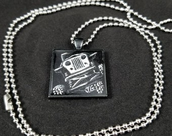 Offroad Rock Crawler Jeep Necklace Pendant. Hand Drawn.