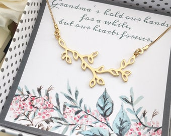 Gifts for Grandma Necklace Gift for Grandmother Birthday Gift Message card Presentation card Branch Necklace Tiny leaves gold leaves