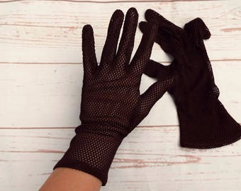 1940s Gloves - Brown Gloves - CC41 - Size 7 Gloves - Vintage Gloves - WW2 - 1940s Ladies Gloves - Crochet Gloves - Vintage Crochet Gloves