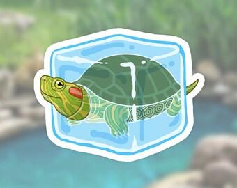 Wugui Didi, the Frozen Turtle Sticker | red eared slider in an ice cube, reptile