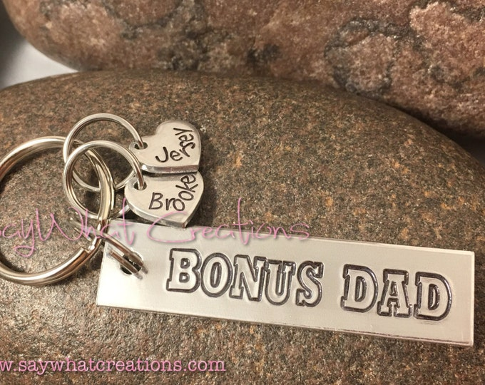BONUS DAD Hand Stamped Key Chain with personalized hearts