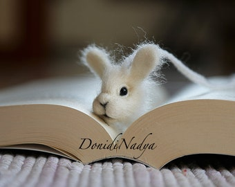 White bunny needle felted bookmark. Gift for her. Present for him. Gift for teacher.