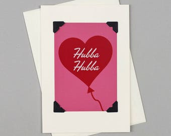 "Handmade Valentine's Card ""Hubba Hubba"" in Vintage Style with Heart Balloon illustration"