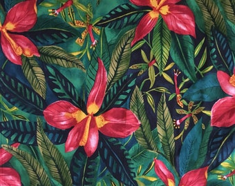 Hawaiian print fabric large orchids on a lush background of jungle greenery. 100% cotton fat quarter