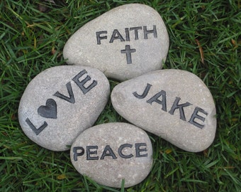 Mother's Day Gifts, Father's Day Gifts. Garden Stones, Personalized Engraved Stones Name Inspiration Stones 4-5 Inch