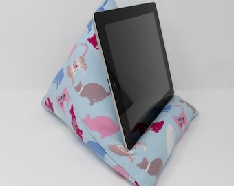 Tablet Cushion, iPad Beanbag, Tech Gift Girls, Cat Gifts, Cat Fabric, Tech Accessory, Blue Tablet Stand, Teen Girl Gifts, iPad Accessories