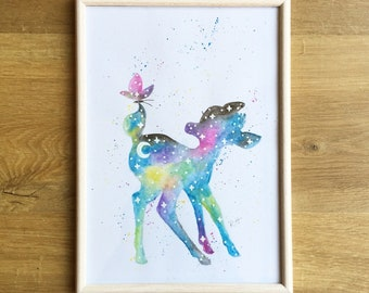 Bambi Inspired watercolor painting