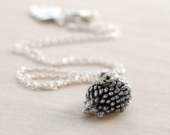 Adorable Teeny Tiny Forest Hedgehog Necklace | Cute Silver Hedgehog Charm Necklace | Little Hedgie Pendant
