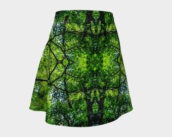 Sun Through Maple Leaves Flared Skirt
