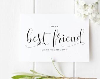 To My Best Friend On My Wedding Day Wedding card for best friend from bride/groom, Wedding Day Card for Best Friend, Wedding Thank You Card