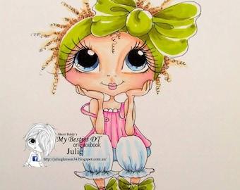 INSTANT DOWNLOAD  Digital Digi Stamps Big Eye Big Head Dolls img577 Bestie By Sherri Baldy