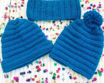 Kid's Blue Crochet Beanies, Kids And Adult Size Crochet Beanies, Crochet Beanies, Beanies For Kids And Adults, Slouch Crochet Beanies