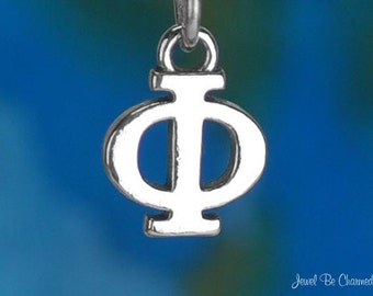 Solid Sterling Silver Greek Letter Phi Charm Fraternity Sorority .925