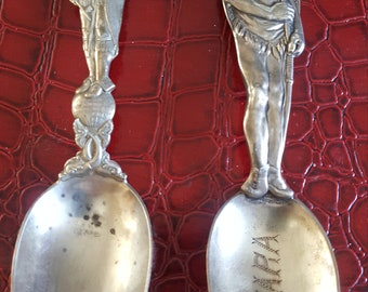 2  Indian Chief Head Souvenir Spoons Sterling Silver