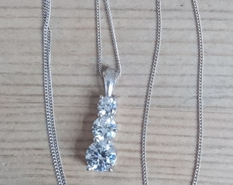 Sterling silver and CZ pendant and chain