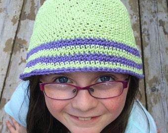 Crochet cotton sun hat, Child cotton hat, ladies small sun hat, bucket hat, cotton sun hat, cotton beach hat, small beanie, cotton hat