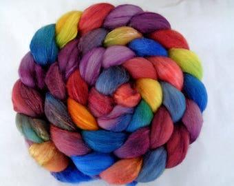 Merino silk roving, handpainted spinning fiber, wool roving, felting wool, roving, hand dyed roving, wool silk roving, orange, blue, 3.5oz