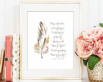 """What if I fall? Oh but my darling, what if you fly -Erin Hanson - PRINTABLE  5x7""""  8x10"""" and 11x14"""" - Instant Download Watercolor Feather"""