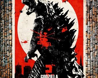 Godzilla RED Vintage Japanese Movie Ad, Japanese Movie Art, Godzilla Poster, Vintage Art, Giclee Art Print, Fine Art Reproduction
