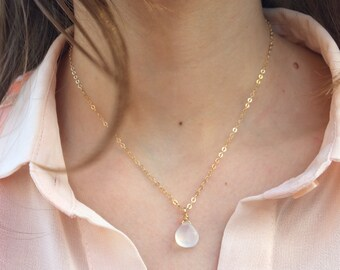 Chalcedony Necklace, 14k Gold Filled Sterling Silver or Rose Gold FIlled, Chalcedony Wire Wrapped Briolette