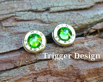 25 Caliber Bullet Casing Post Earrings- Dark Green
